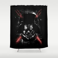 sith Shower Curtains featuring Sith Lord (Red Sabers) by Li.Ro.Vi