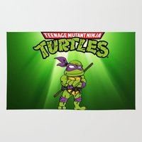 ninja turtle Area & Throw Rugs featuring Ninja Turtle by flydesign