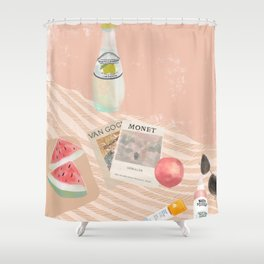 Beach essentials. Limonata, glossier, watermelon and Van Gogh Shower Curtain