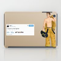 liam payne iPad Cases featuring Fireman Liam by maestolenpencil