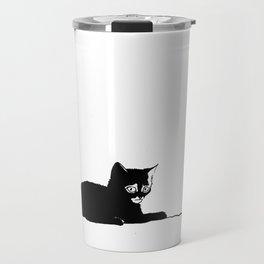 Black cat with ball Travel Mug