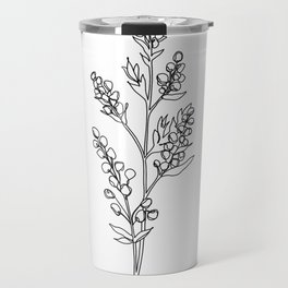 Botanical floral illustration line drawing - Mae Travel Mug