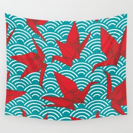 Origami red paper cranes sketch. burgundy maroon line Nature oriental Wall Tapestry