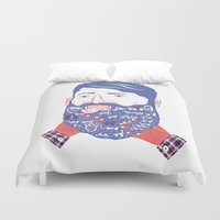 beard Duvet Covers featuring Animals in Beard by David Penela