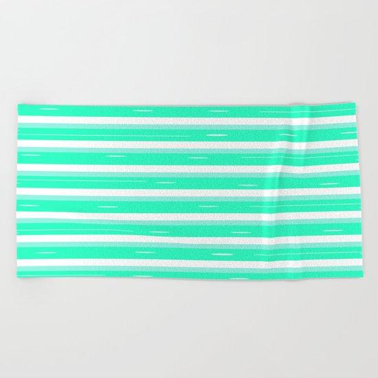 Mint stripes Beach Towel