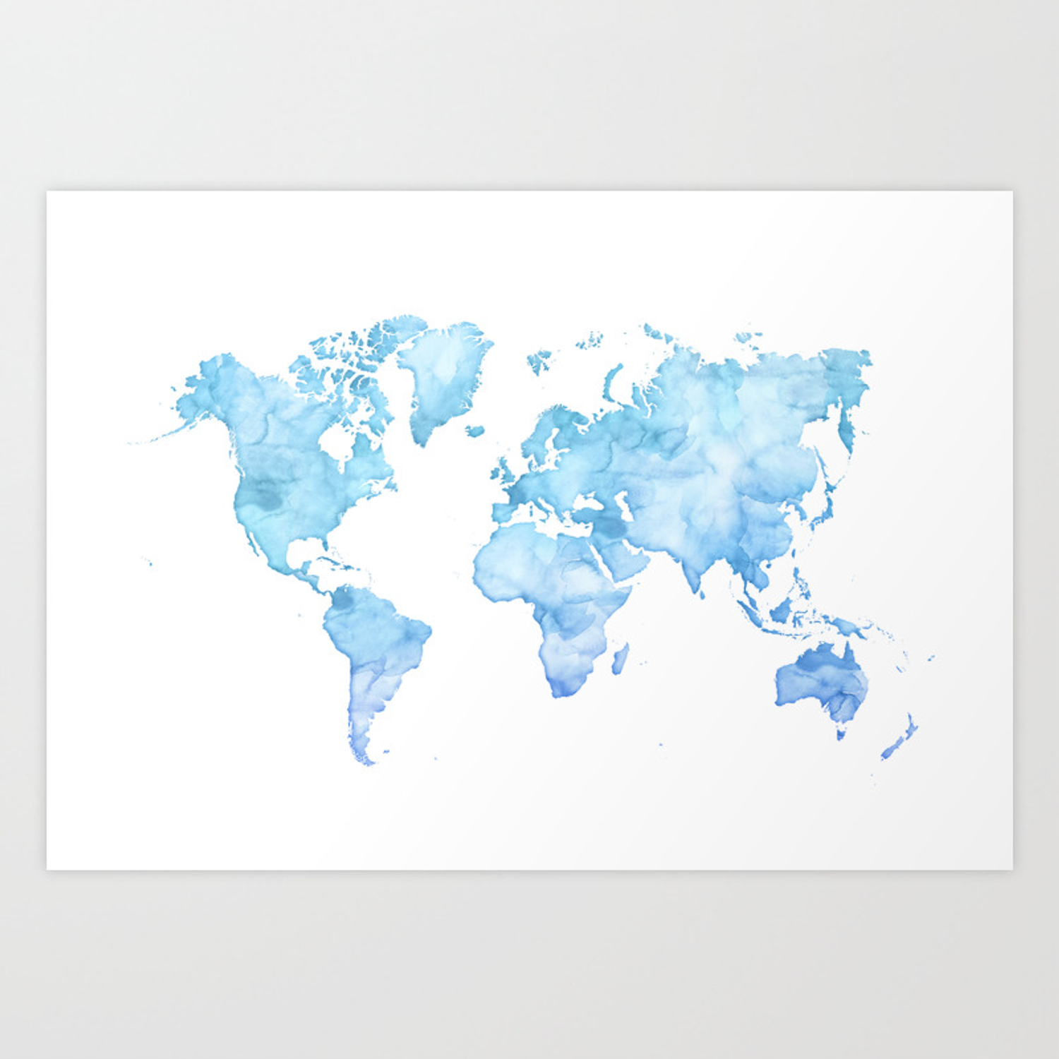 Light blue watercolor world map Art Print on national geographic world maps print, world map to edit, spring forward sign to print, cool world map print, world map to color, world printout, world map to size, world map to zoom, numbers to print, road map fabric with print, world atlas with latitude and longitude, world globe outline printable, latitude longitude world map print, world map to sketch, markers to print, search to print, congo print, world map to make, world map to label, large labeled world map print,