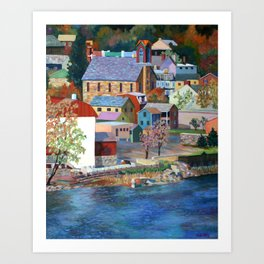 Autumn in New Hope on the Delaware, Bucks County, Pennsylvania. From oil painting by Pamela Parsons. Art Print