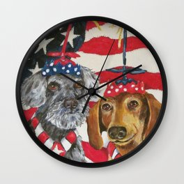 4th of July Celebration Dog Style Wall Clock