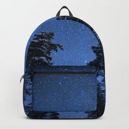 Shimmering Blue Night Sky Stars Backpack