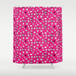 Vintage Iconography in Pink Shower Curtain