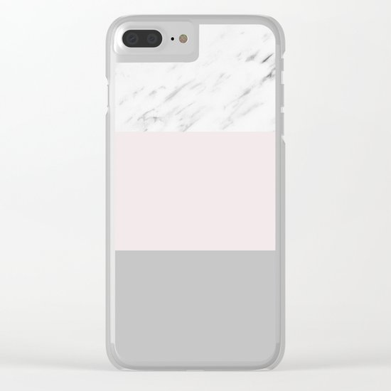 Pastel striping - soft grey marble Clear iPhone Case