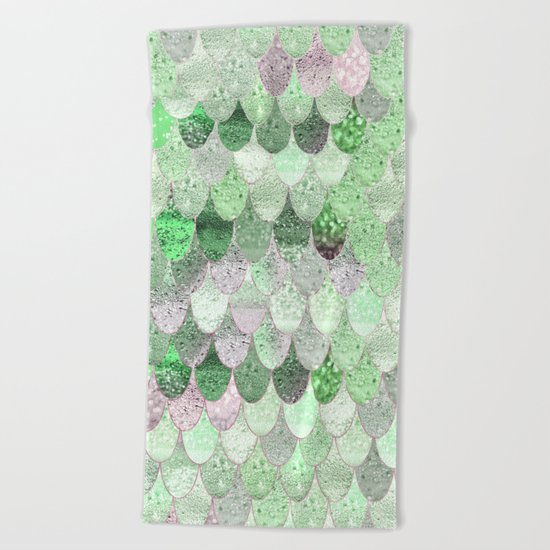 SUMMER MERMAID - GREEN & PINK Beach Towel