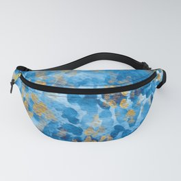 Watercolor Prussian blue and gold pattern Fanny Pack