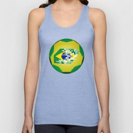 Football ball with Brazil flag Unisex Tank Top