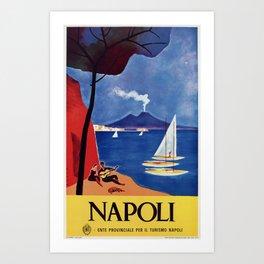 Napels Italy retro vintage travel ad Art Print