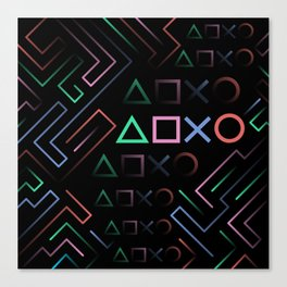 Playstation Buttons Maze Lines Canvas Print