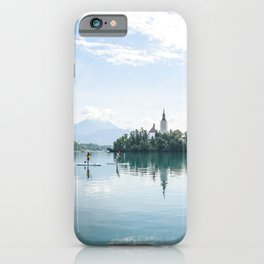 Paddle boarding on Lake Bled iPhone Case