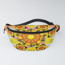 Purple and peach floral mandala Fanny Pack