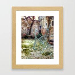 Broken window to Venice courtyard Framed Art Print