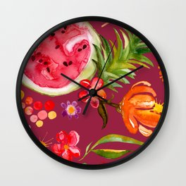 Tropical Fruit Festival in Red | Frutas Tropicales en Rojo Wall Clock