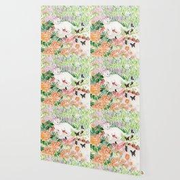 White Cat in a Garden Wallpaper