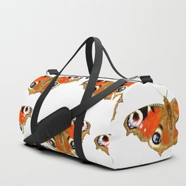 Beautiful Peacock Butterflies On A White Background #decor #society6 Duffle Bag