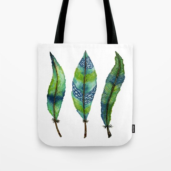 Mystic Sea Feather Trio Tote Bag