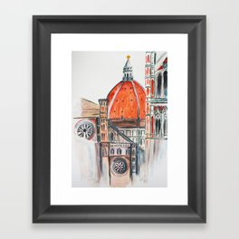 Florence Italy illustration, Firenze duomo Framed Art Print