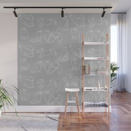 Nordic Chic White Tibbies on Light Grey Minimalist Outline Pattern Wall Mural