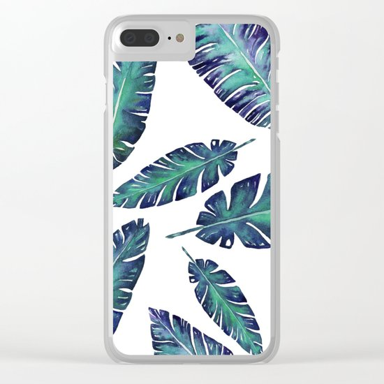 Watercolor garden leaves Clear iPhone Case
