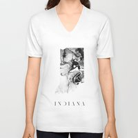 indiana V-neck T-shirts featuring Indiana by PearlStDesignCo