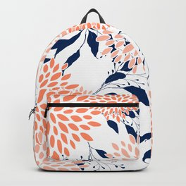 Floral Prints and Leaves, White, Coral and Navy Backpack