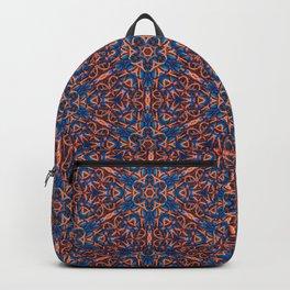 Striking Blue and Orange beadwork inspired Geometric Print Backpack