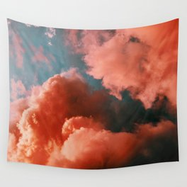 Orange and blue abstract clouds Wall Tapestry