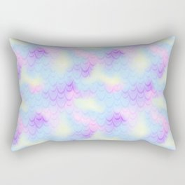 Pastel Blue Mermaid Tail Abstraction. Magic Fish Scale Pattern Rectangular Pillow