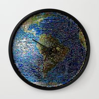 earth Wall Clocks featuring Earth  by 2sweet4words Designs