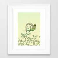 lonely Framed Art Prints featuring Lonely by Emily Joan Campbell