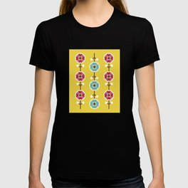Scandinavian inspired flower pattern - yellow background T-shirt