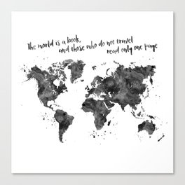 The world is a book, world map in black watercolor, square Canvas Print