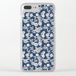 Vintage Florals Navy Blue | White Pattern Clear iPhone Case