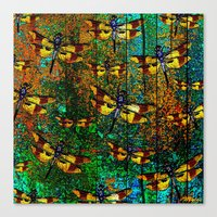 dragonfly Canvas Prints featuring Dragonfly  by Saundra Myles