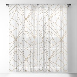 Geometric Gold Pattern With White Shimmer Sheer Curtain