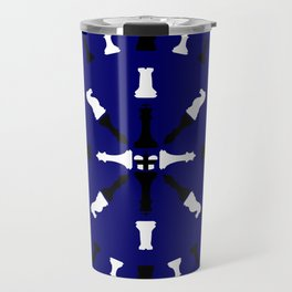 Chess Piece Design - Black and White Travel Mug