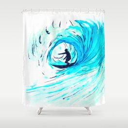 Lone Surfer Tubing the Big Blue Wave Shower Curtain