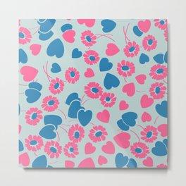 Retro Heart Flower Garden in Neon Blue + Pink Metal Print