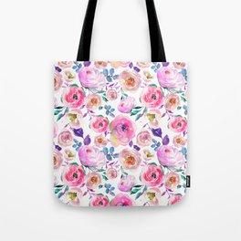Elegant modern pink lilac orange watercolor floral Tote Bag