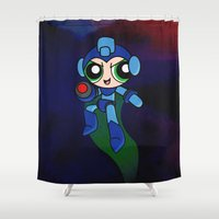 mega man Shower Curtains featuring Mega Puff Man by Unihorse