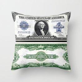 Vintage 1923 Eagle US Washington $1 Dollar Bill Silver Certificate Wall Art Throw Pillow