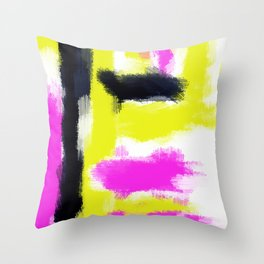 pink yellow and black painting abstract with white background Throw Pillow