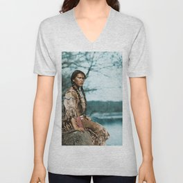 Ponemah by the Lake - Ojibwe Woman - American Indian Unisex V-Neck